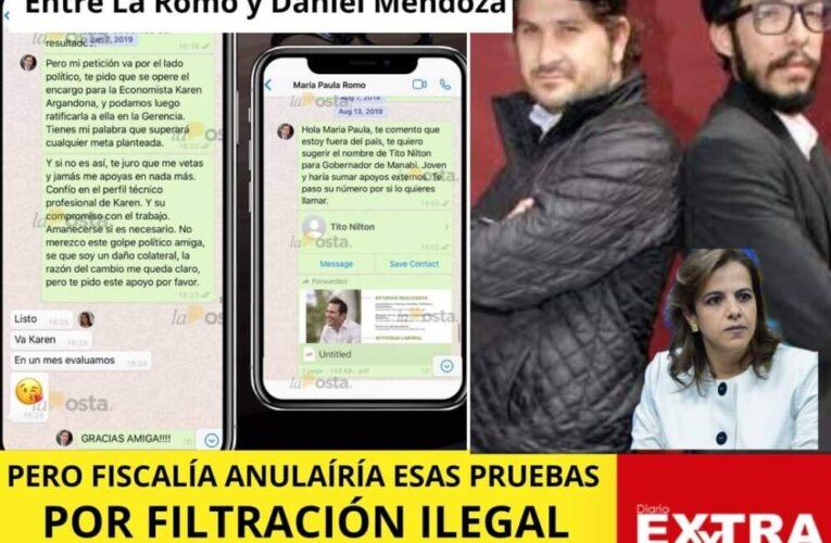 Por Filtrar chats entre María Paula Romo y Daniel Mendoza Fiscalía puede invalidar la prueba porque La Posta no podía publicarlo.