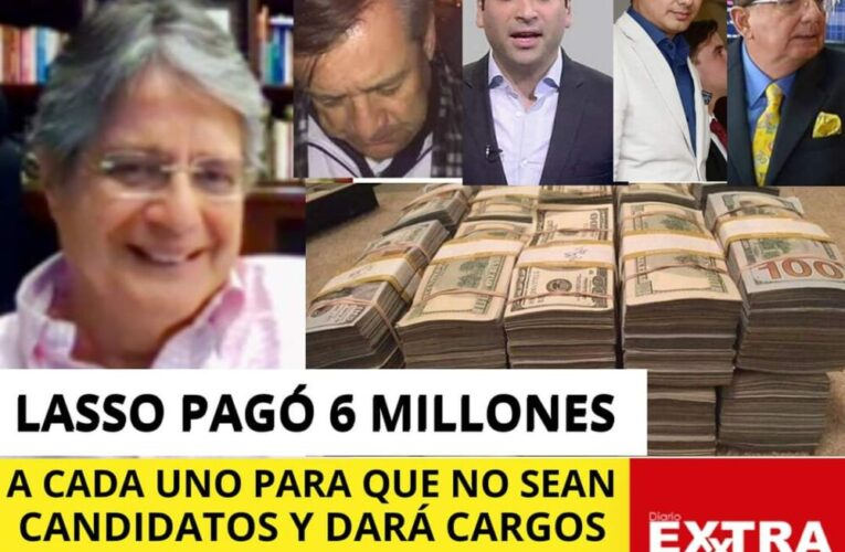 Guillermo Lasso paga 18 millones más cargos publicos  a Álvaro Noboa, Sonnenholzner, Paez y Balda para que no sean candidatos.