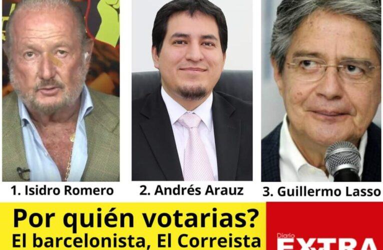 """Isidro Romero: """"El Barcelonista"""" Andrés Arauz:""""El Correista"""" Guillermo Lasso """"El Banquero"""" Por quién votarías?"""