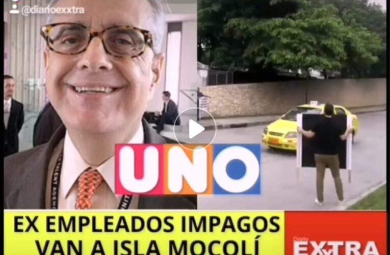 Ex empleados de Canal Uno van a Isla Mocoli ha hacer el foco por años impagos.