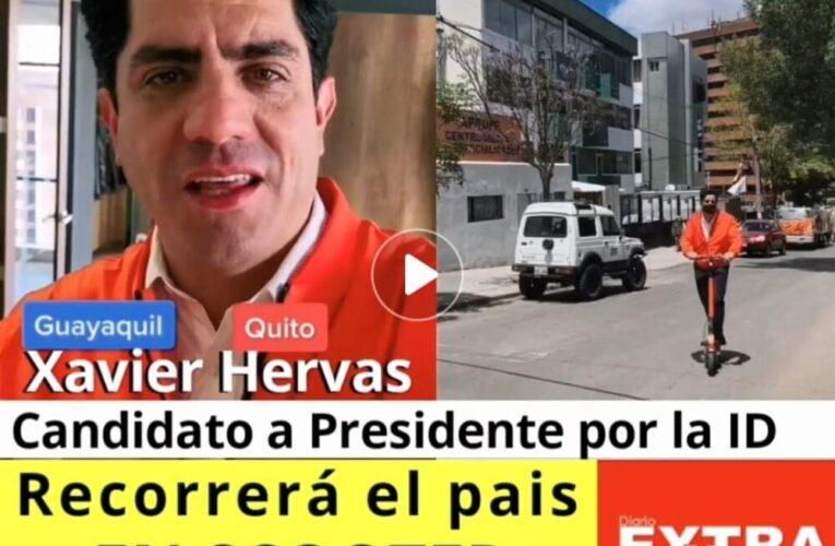 Xavier Hervas candidato a Presidente por la Izquierda Democrática hará campaña en scooter.